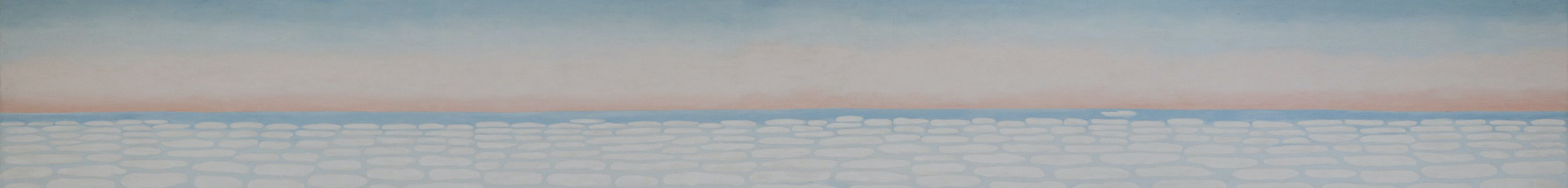 Detail image of pink and blue sunset over many white clouds, 1983.821