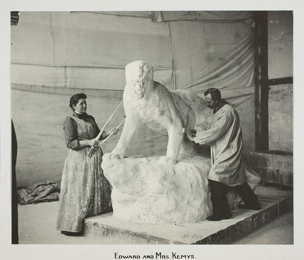 Sculptor Edward Kemeys and his wife, Laura, also a sculptor, work on a statue of a panther for Columbian Exposition