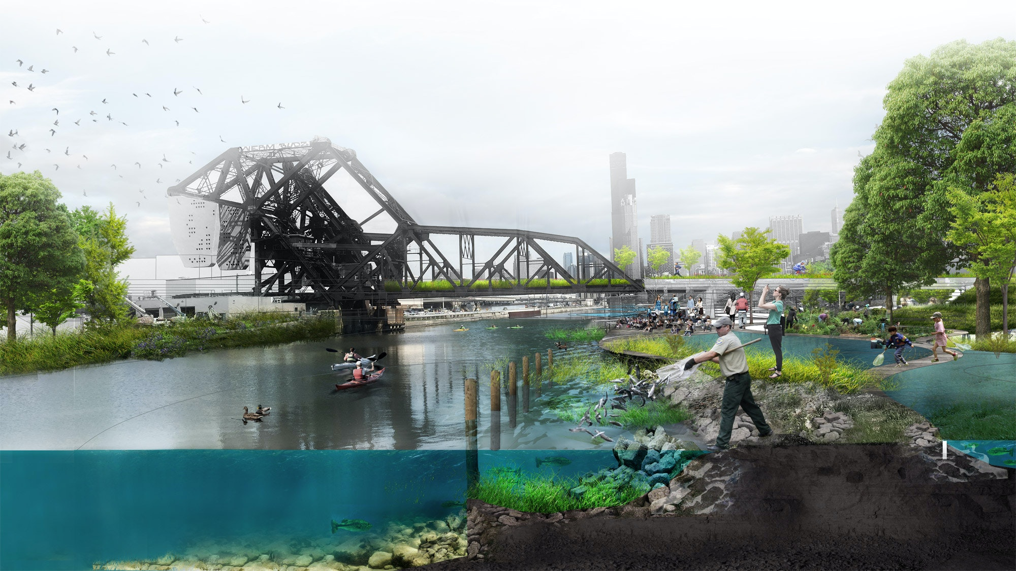 A photographic rendering of a revitalized and recreational spot along the Chicago river.