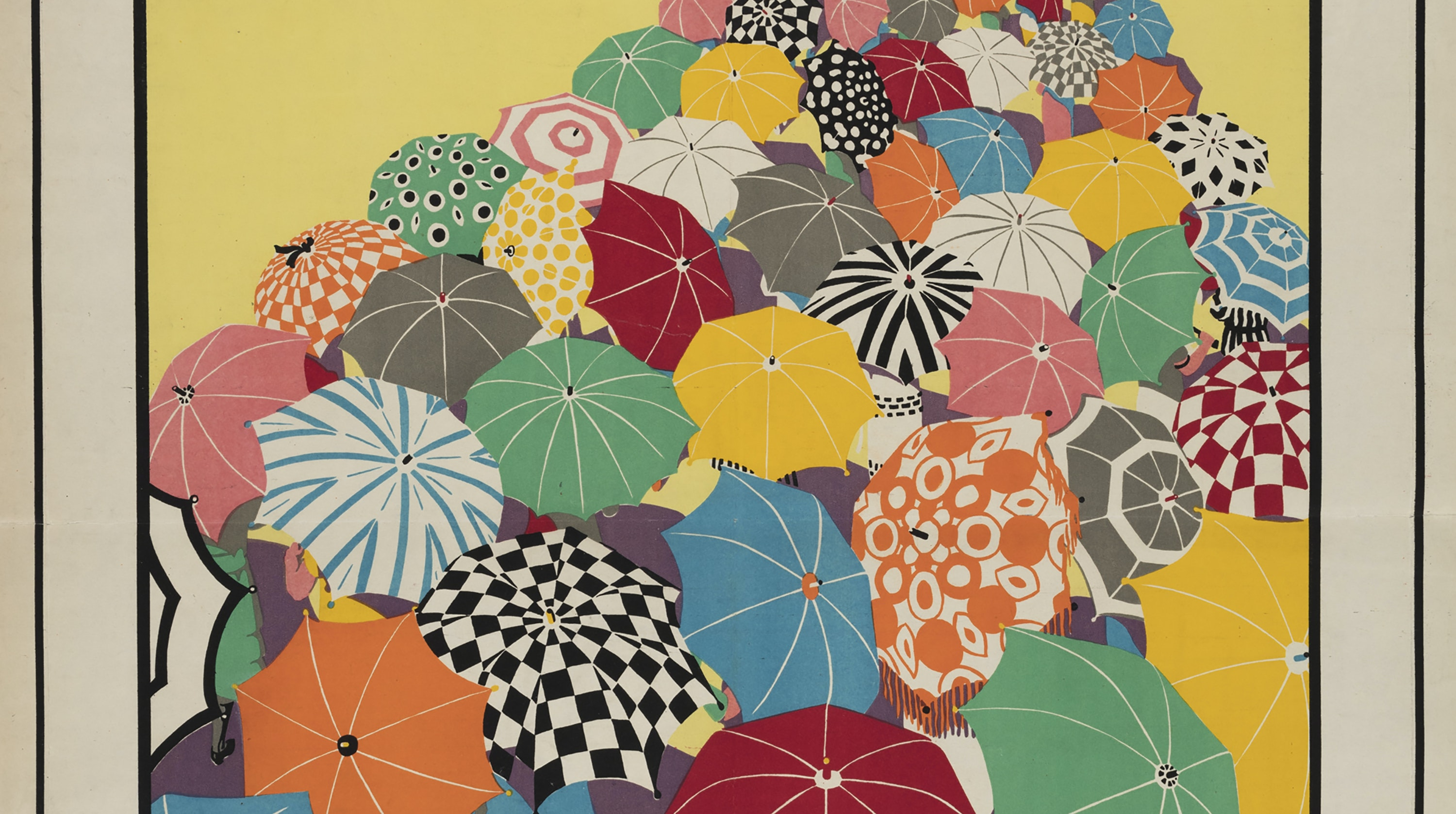 Summer Sales: A poster for the London Underground that depicts colorful and patterned umbrellas on a bright yellow background.