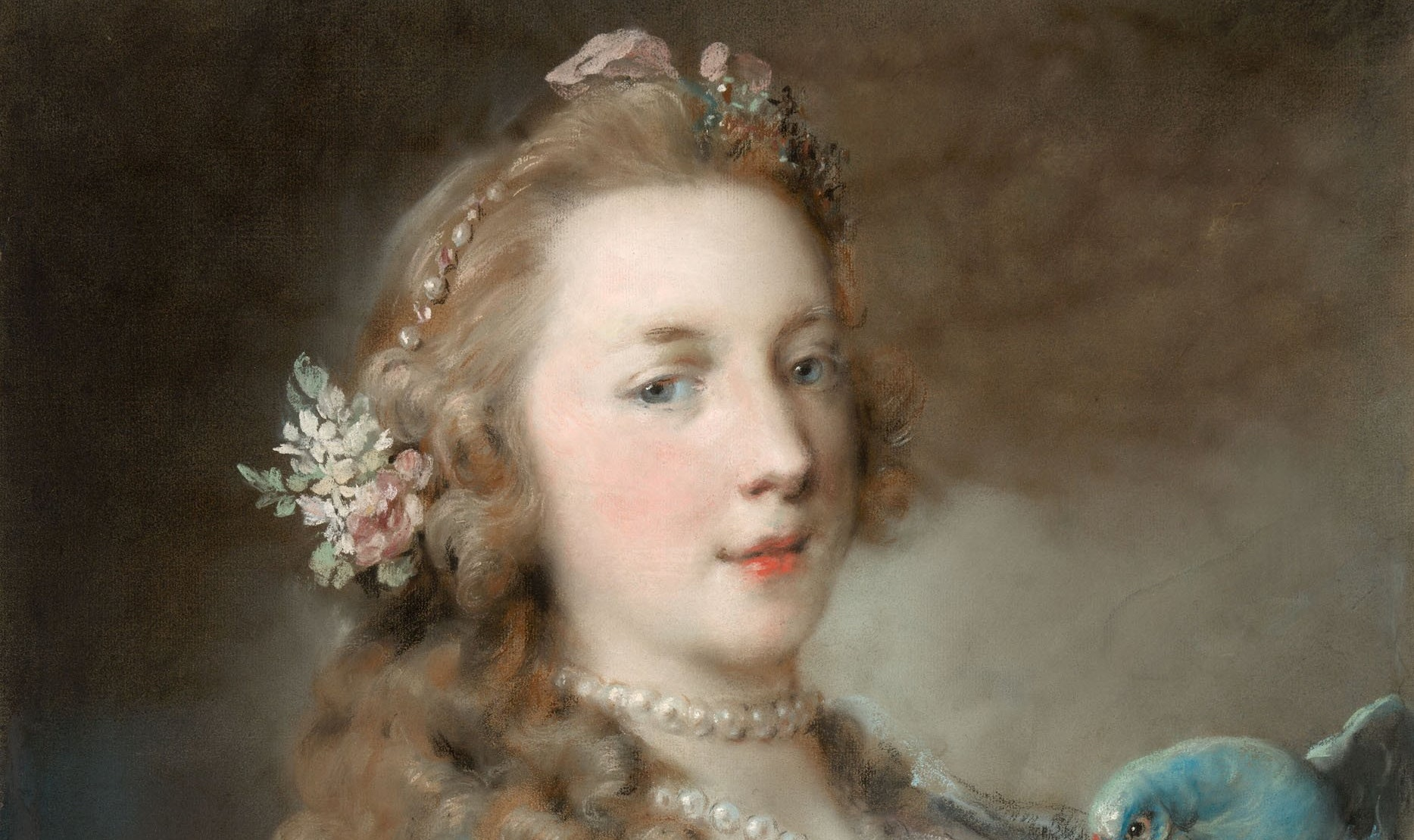 1985.40 Rosalba Carriera A Young Lady With A Parrot