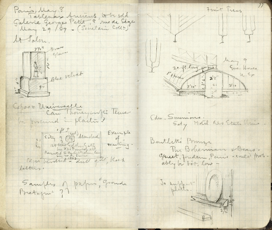 Page from notebook showing sketchs of cases and skylightsPagestm The Art Institute Http Aiconlinecultureco Uk Ttp Copy