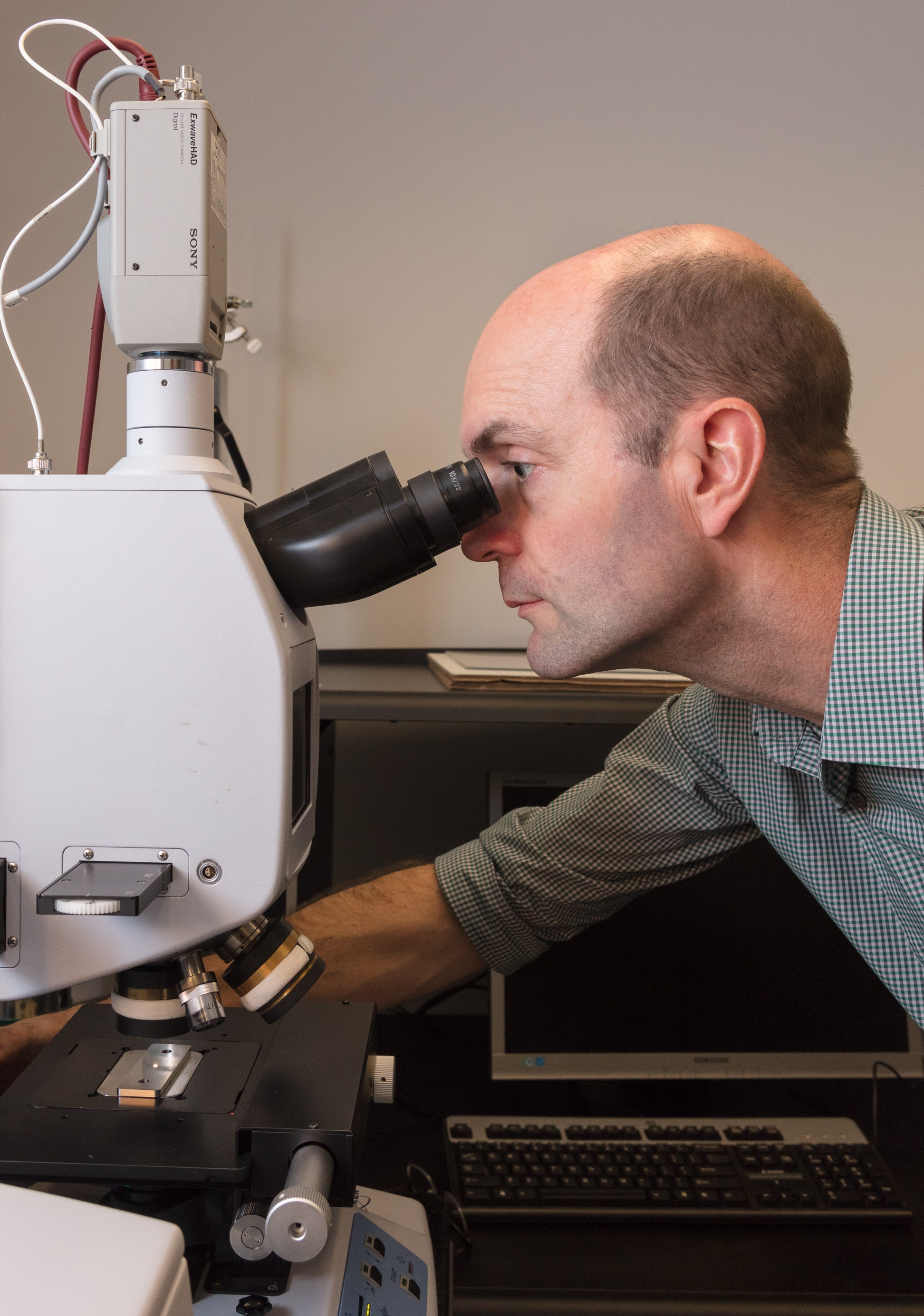 Conservation scientist Ken Sutherland takes a look into a microscope