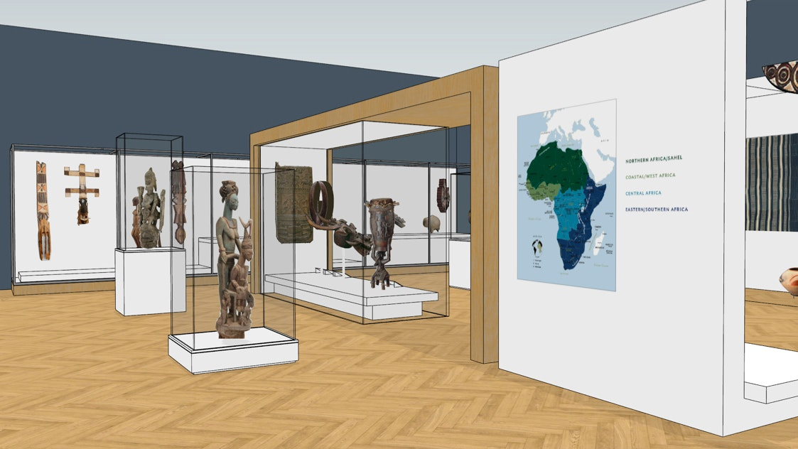 A digital rendering of the new design for the African art galleries.
