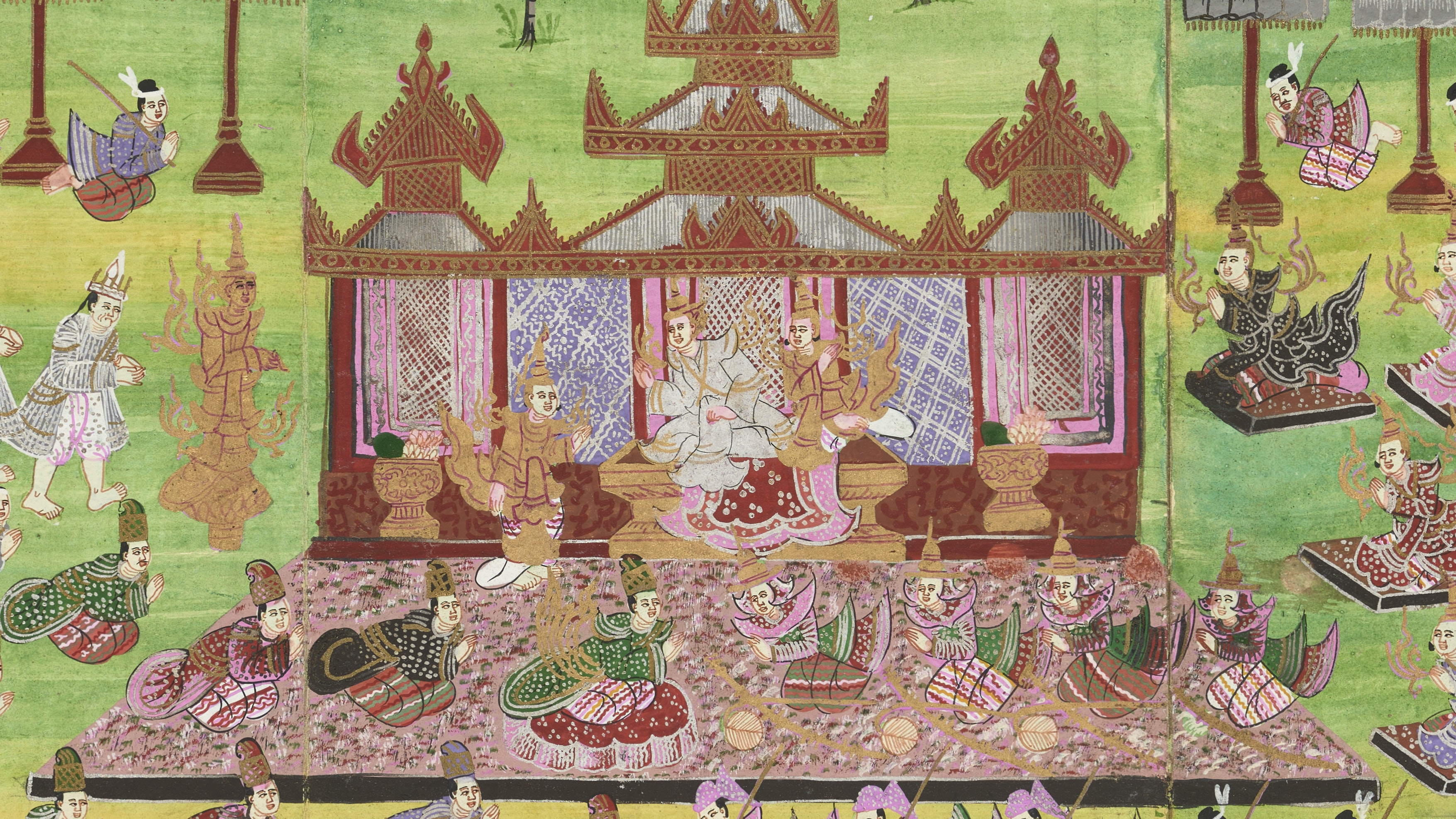 Ceremonies and festivities of the Burmese royal court (detail), 1875-1900; Myanmar (Burma), Mandalay; opaque watercolors, gold, and silver on paper;