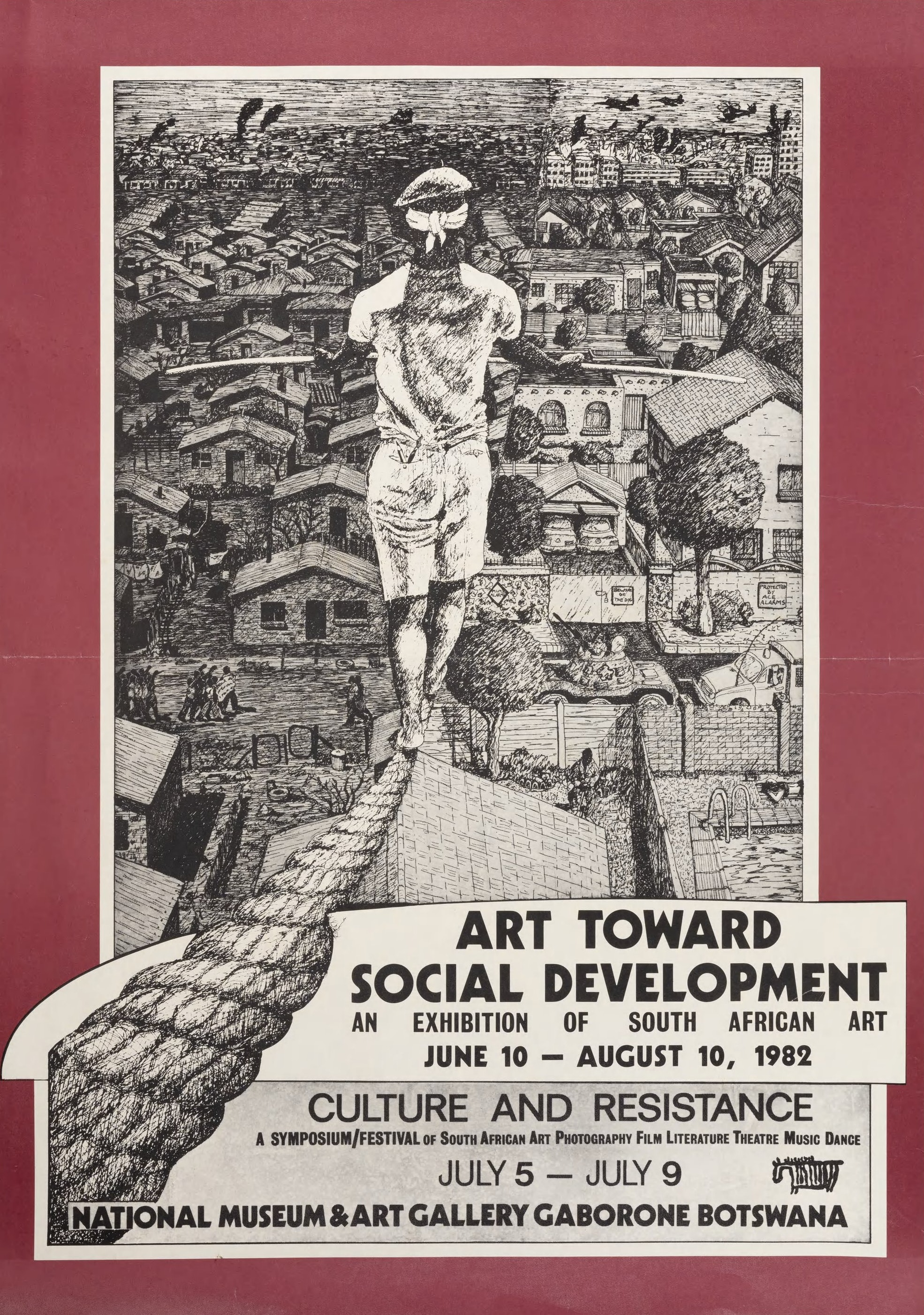 """A black-and-white image shows the back of a man walking across a tightrope over a town. Black lettering says """"Art toward Social Development."""""""