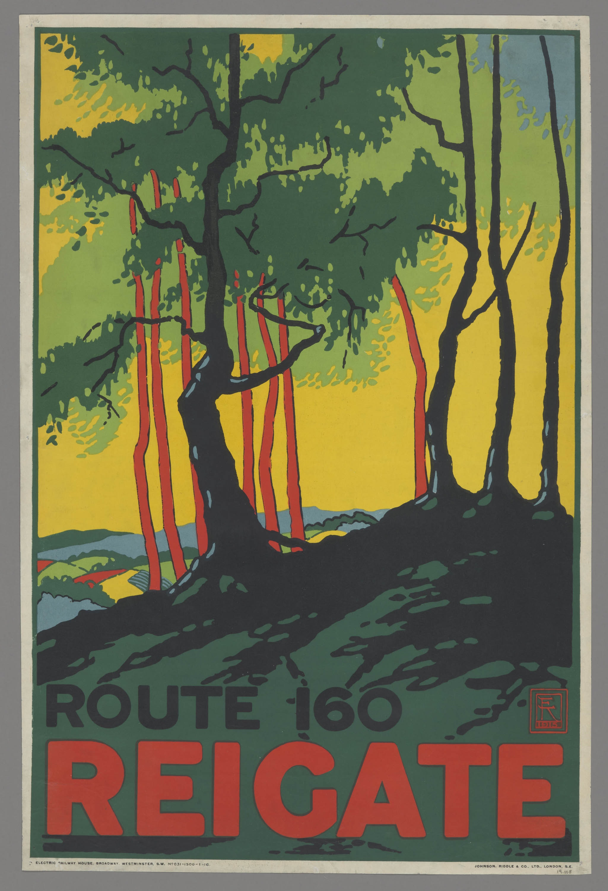 A poster for the London Underground depicting trees against a yellow sky.