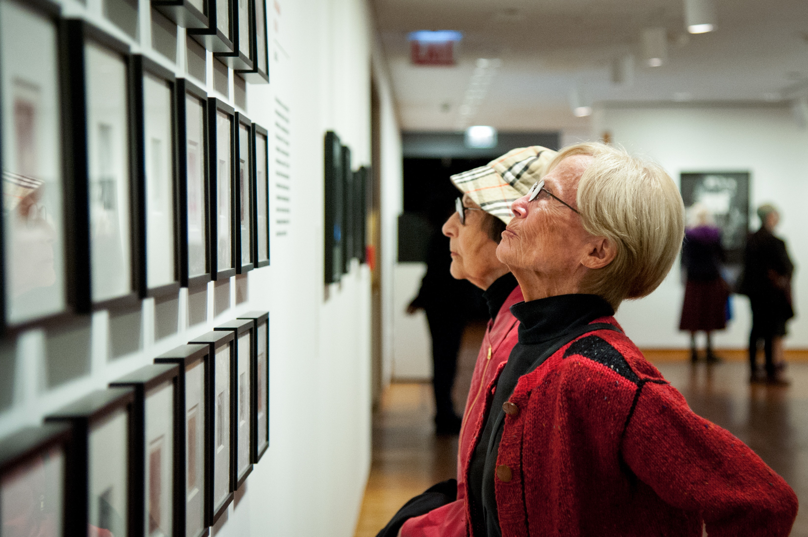 Members of the Buckingham Society view photographs in the Never A Lovely So Real exhibition.