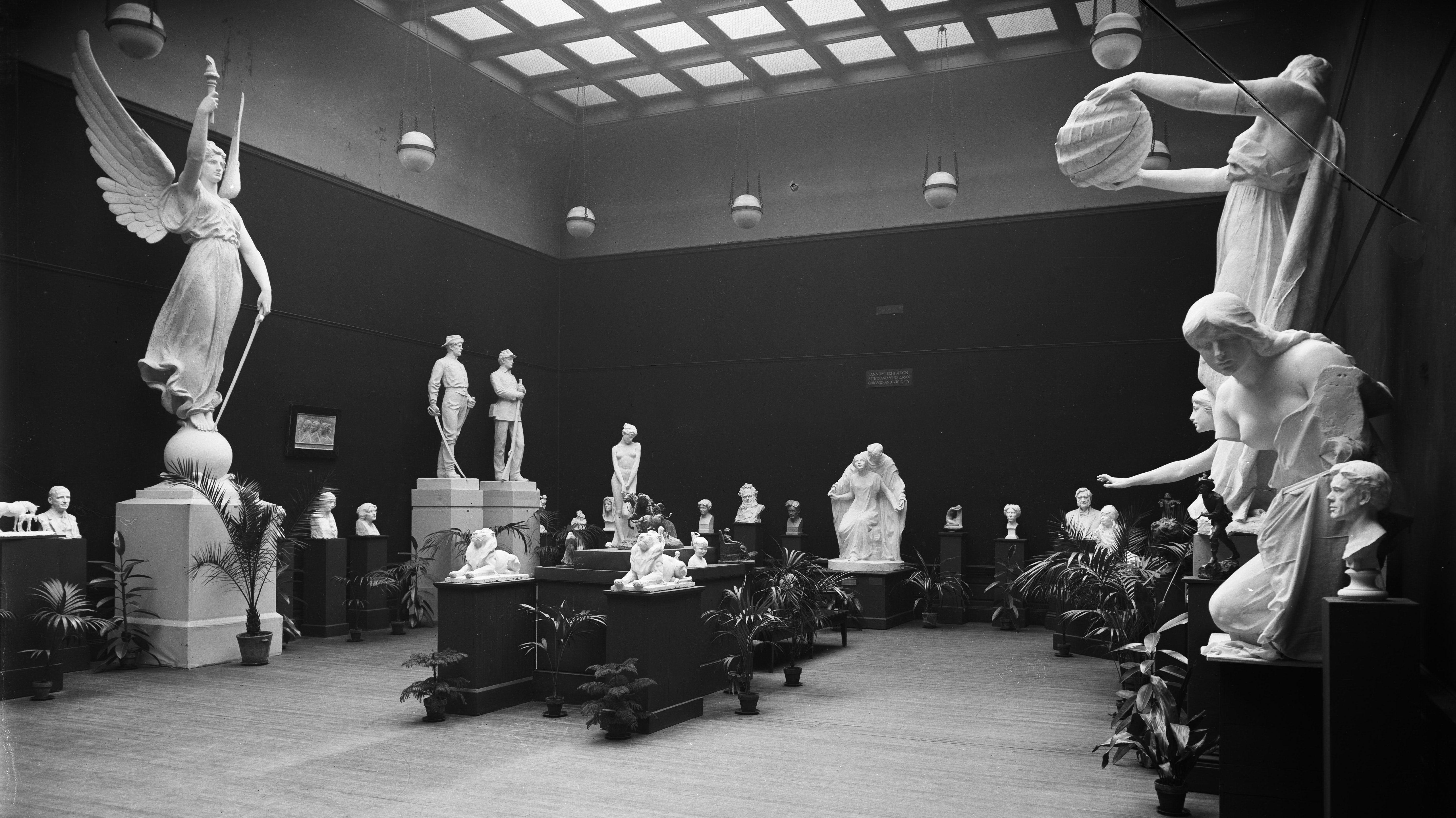 Archival image of an exhibition at the Art Institute