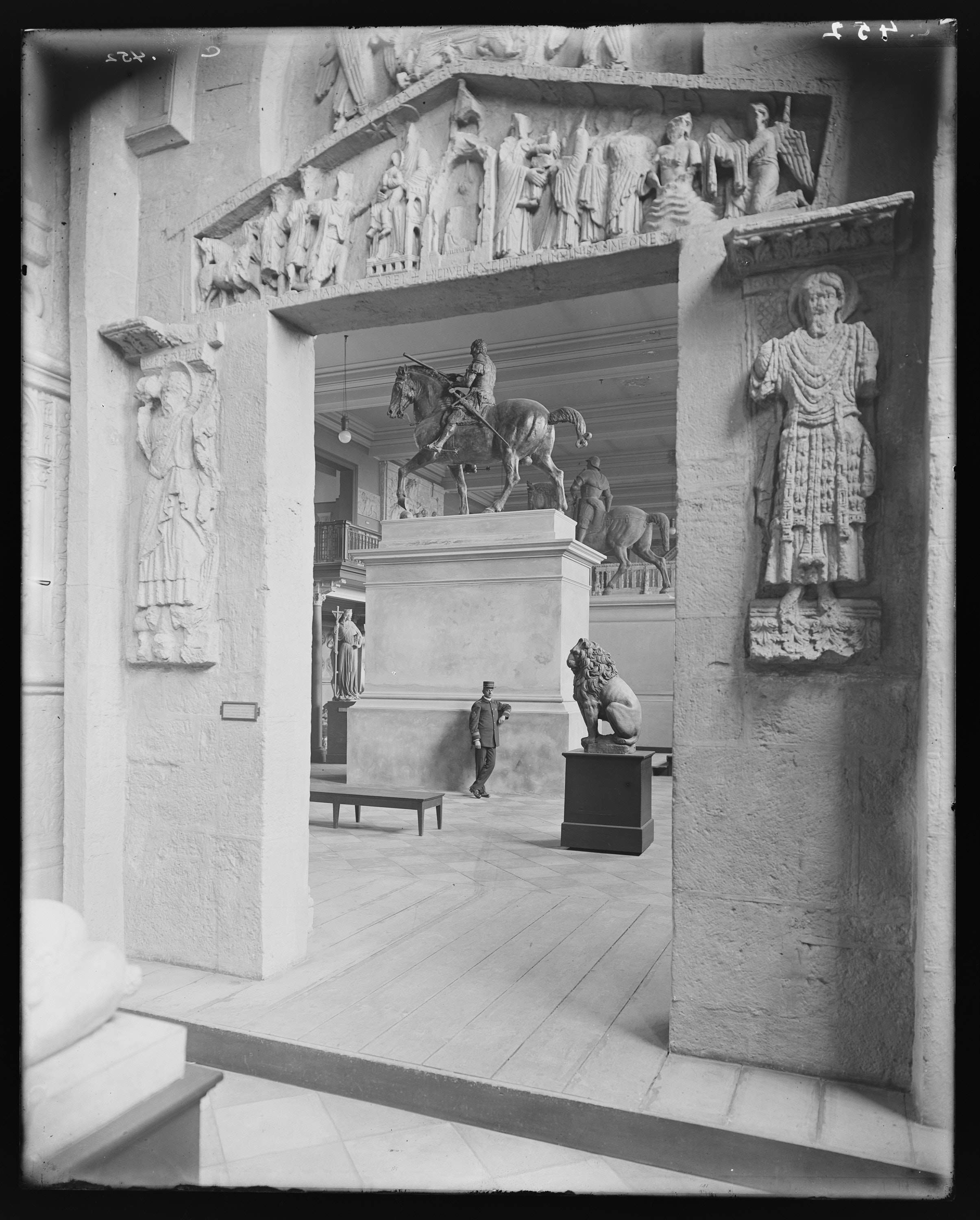 Old photo of guard on duty in galleries