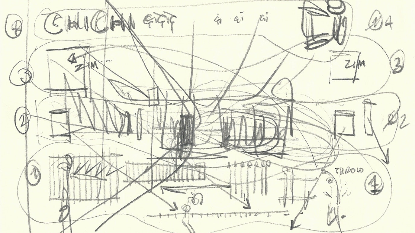 A pencil sketch in a spiral notebook shows a schematic design for artist's Cevdet Erek's installation in the museum's Griffin Court.