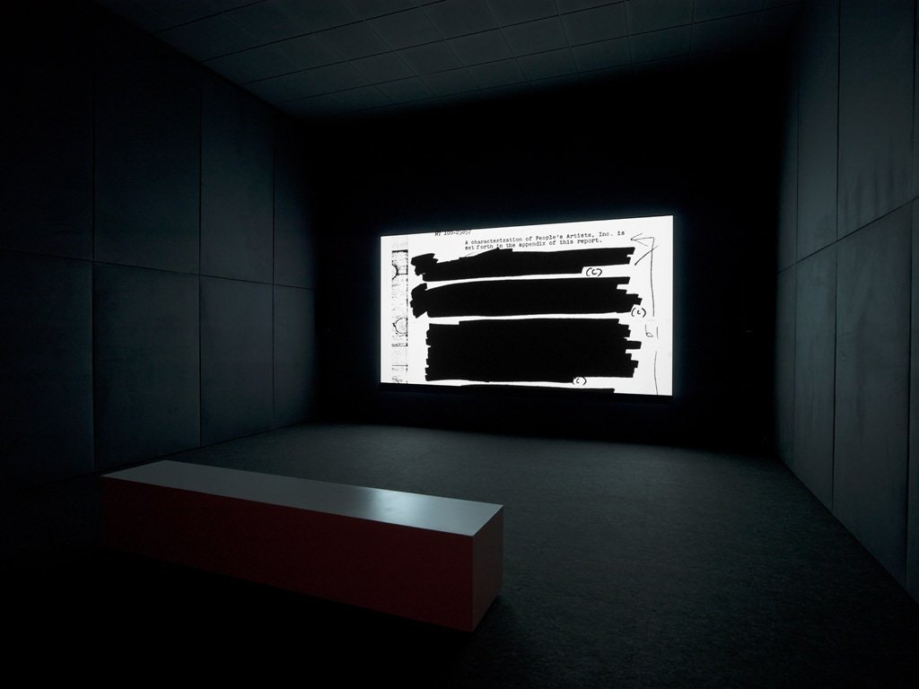 """A photo of an installation view of Steve McQueen's video """"End Credits."""""""
