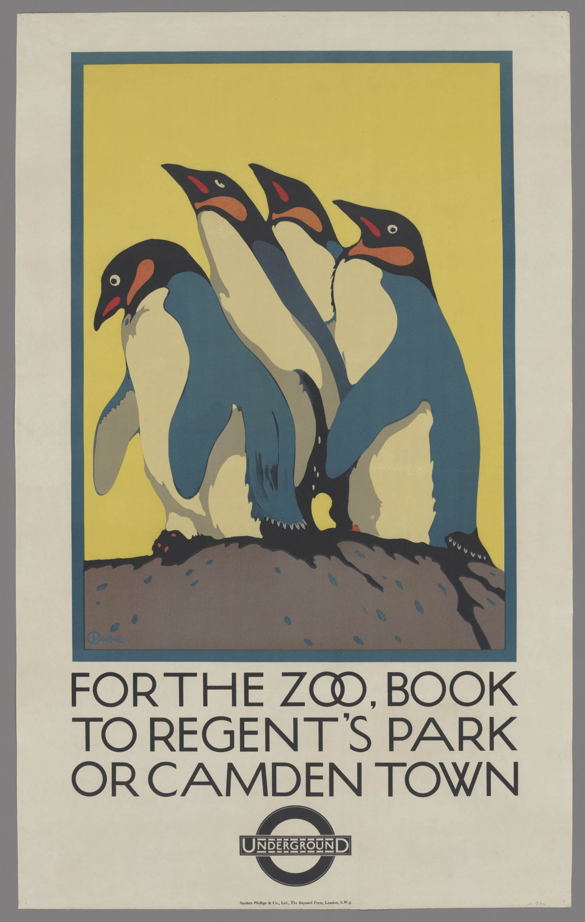 A poster made for the London Underground depicting 4 penguins on a yellow background.