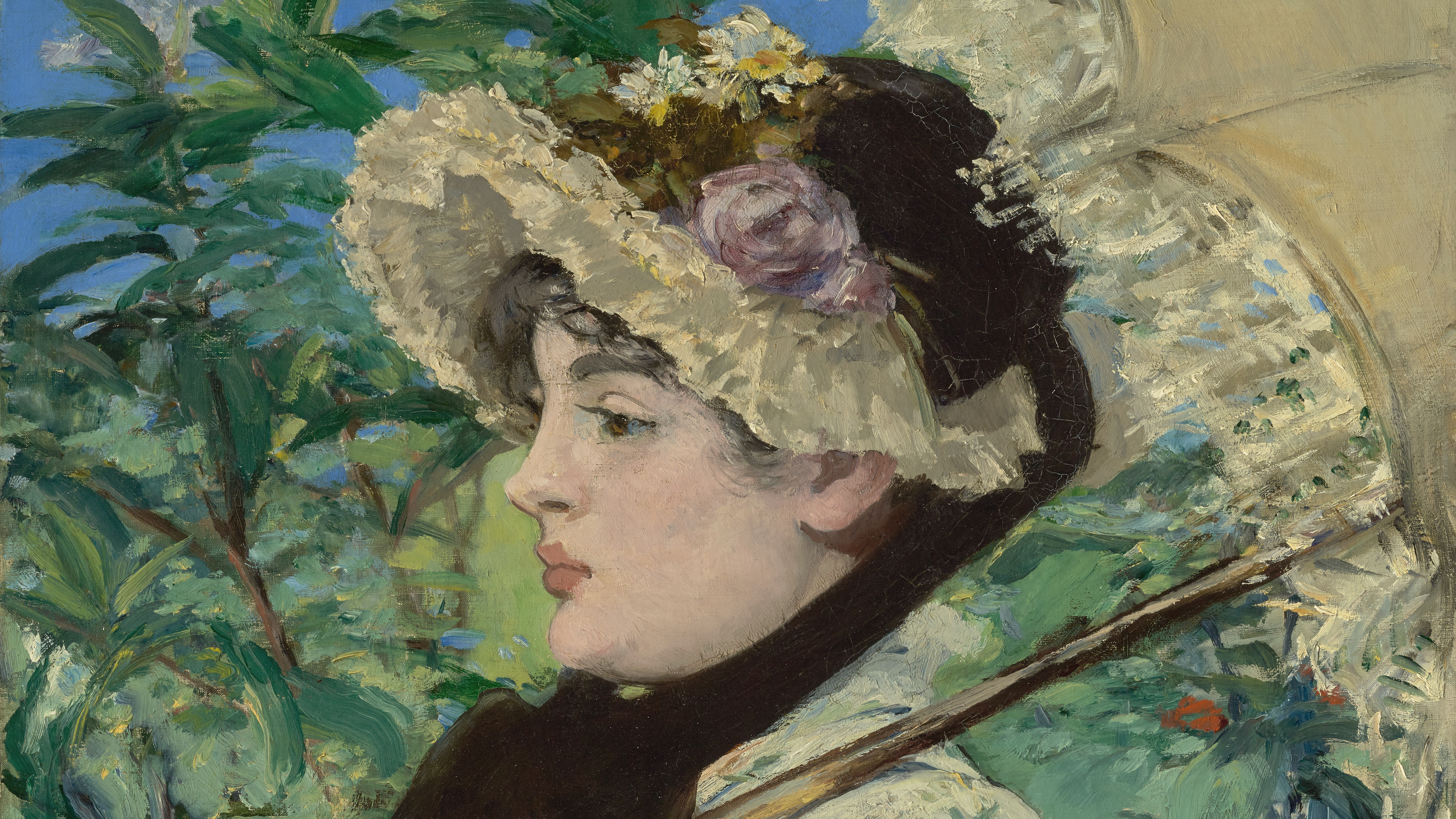 A stylish young woman with a bonnet, parasol, and flowered dress sits amid greenery.