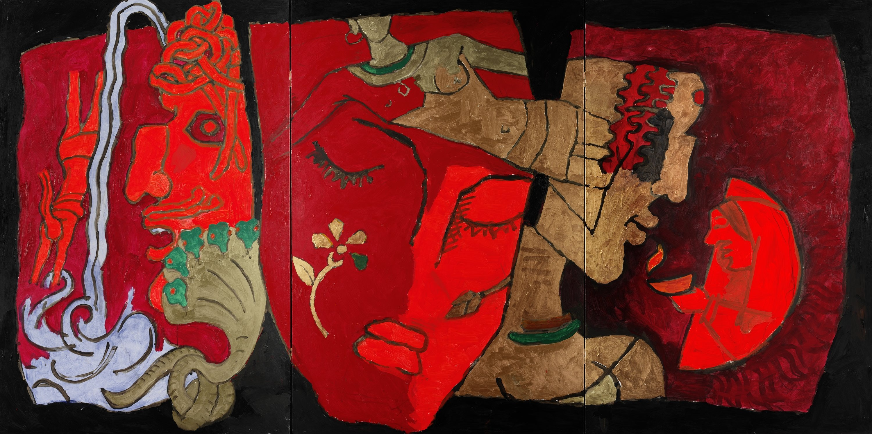 A large painting in mostly red featuring a face.
