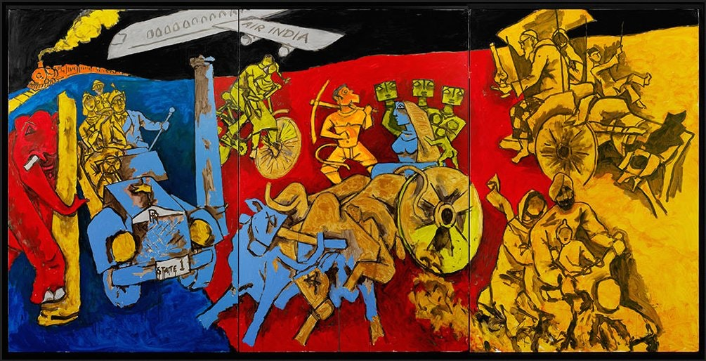 A large colorful painting depicting different modes of transportation.