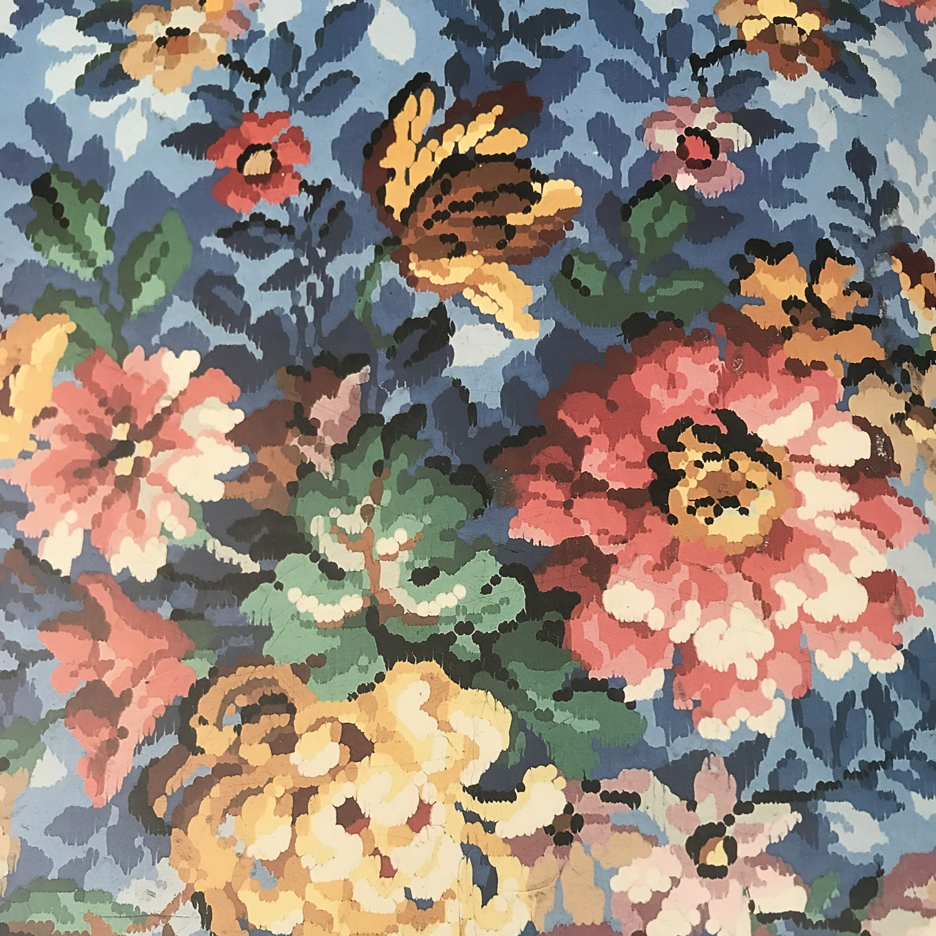 Photo of floral linoleum pattern