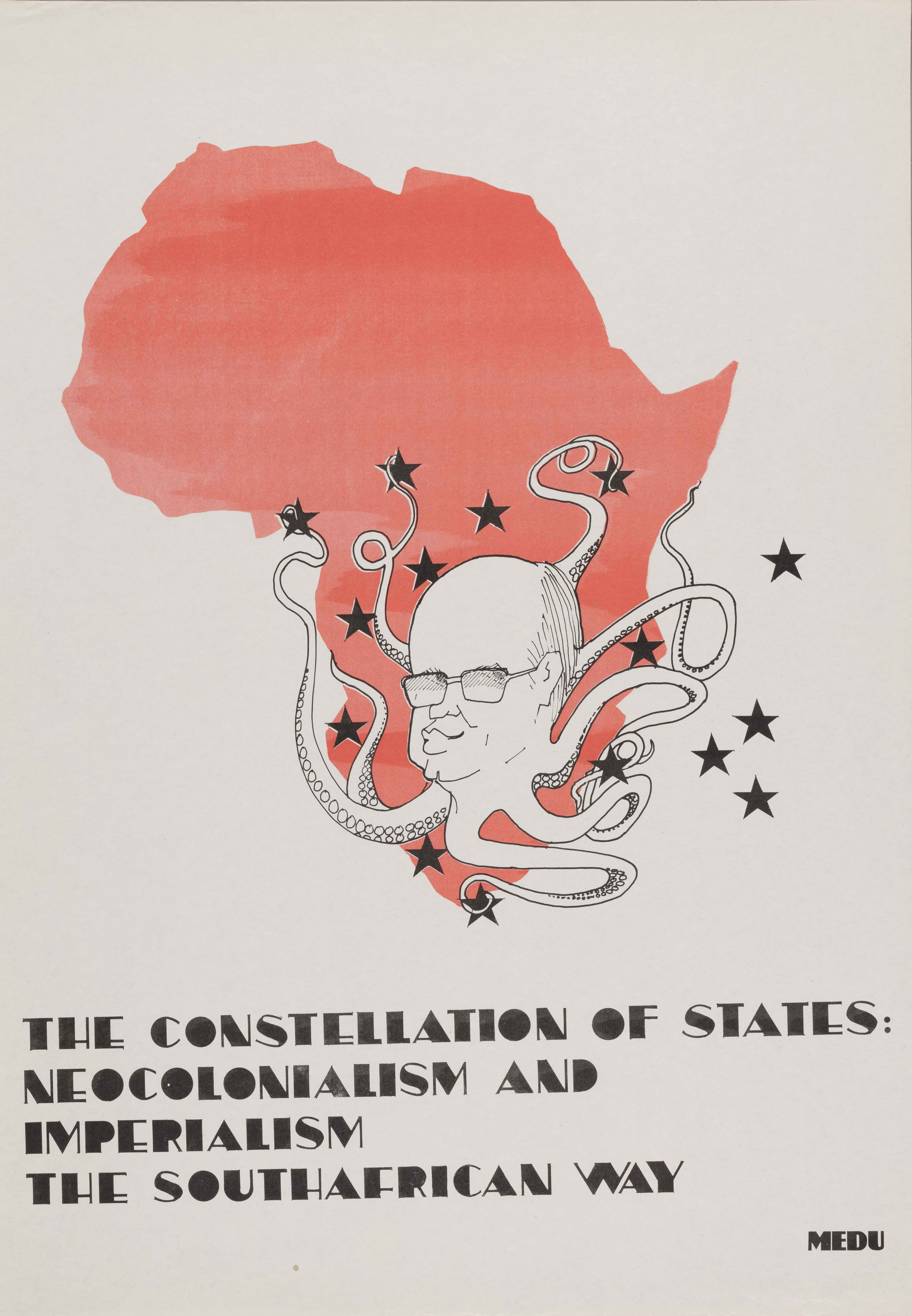 A poster with an image of Africa in pink overlayed with a floating head with octopus-like tentacles.