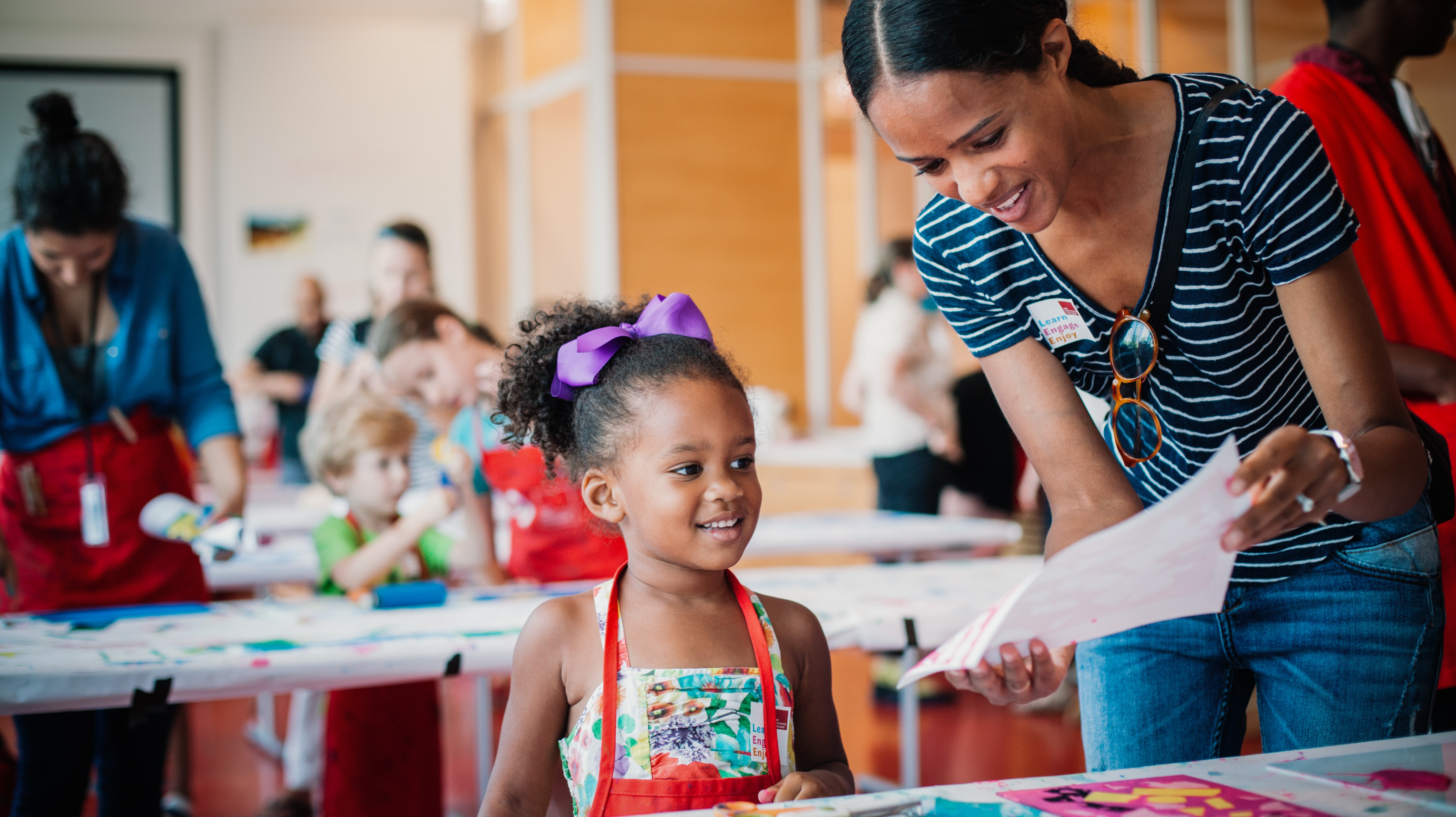 A mother and daughter make art in the Ryan Learning Center