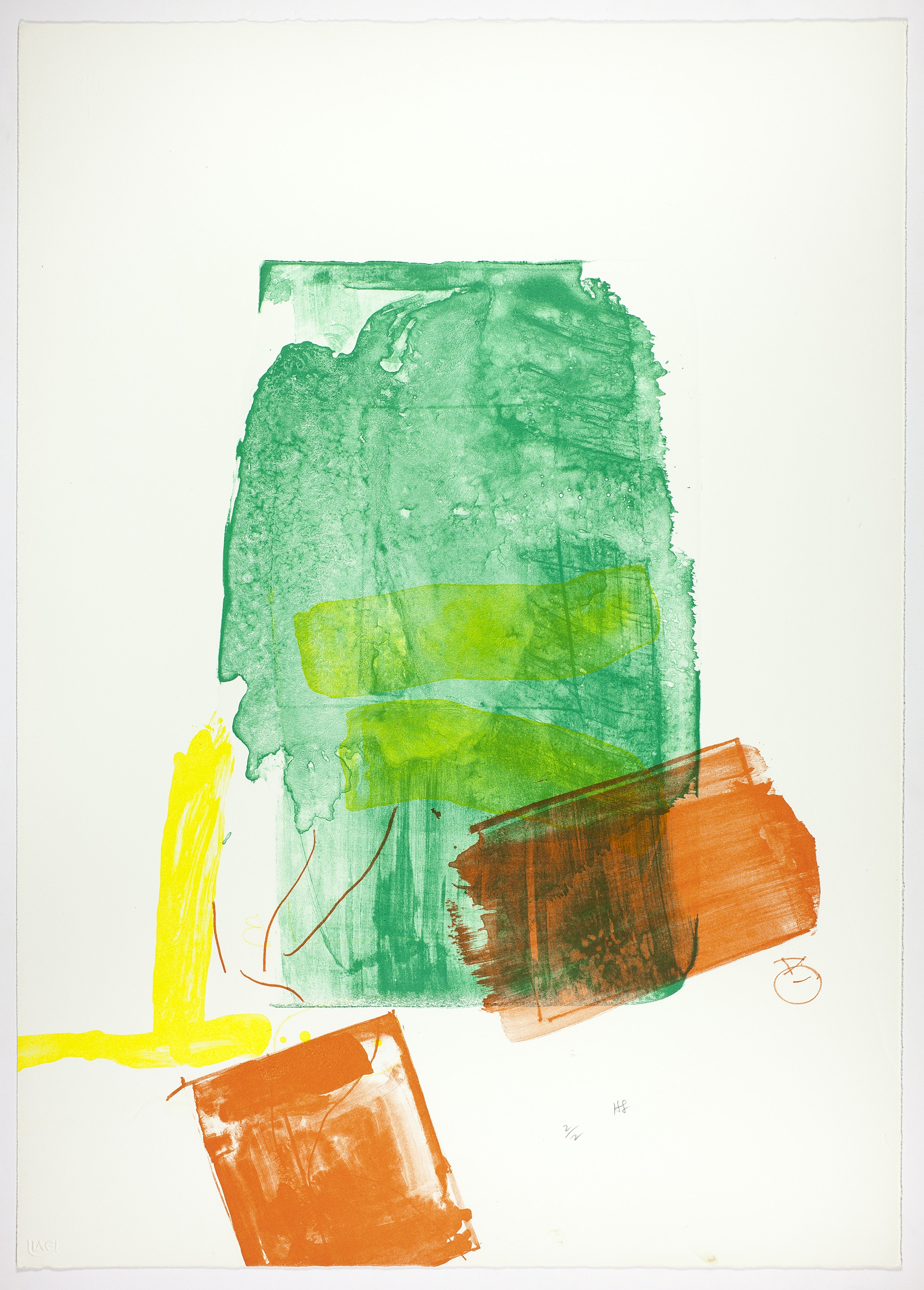 A print with large swaths of green, orange, and yellow overlapping on a white sheet of paper.