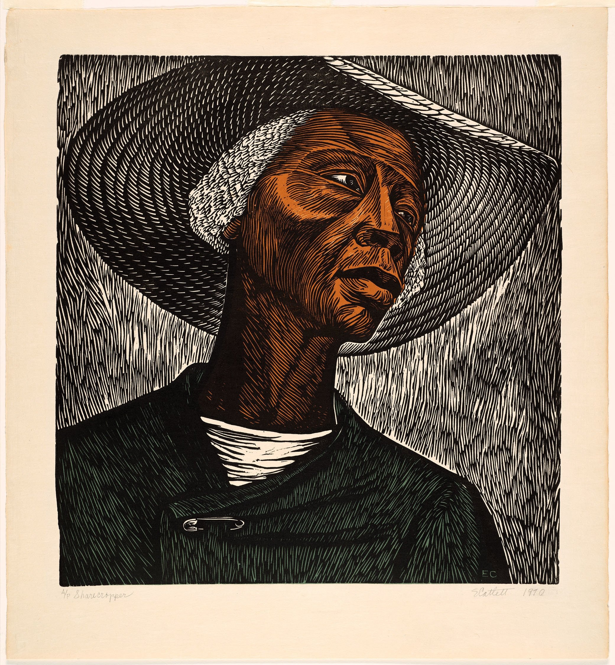 An etching of a woman wearing a hat.