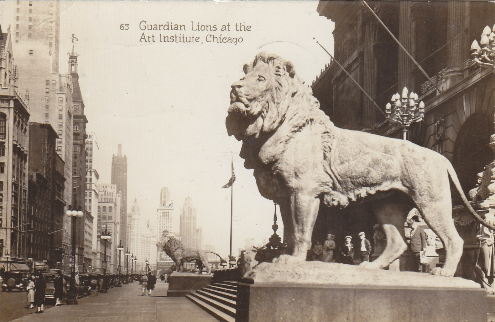 Photo of Art Institute south lion from 1933 postcard