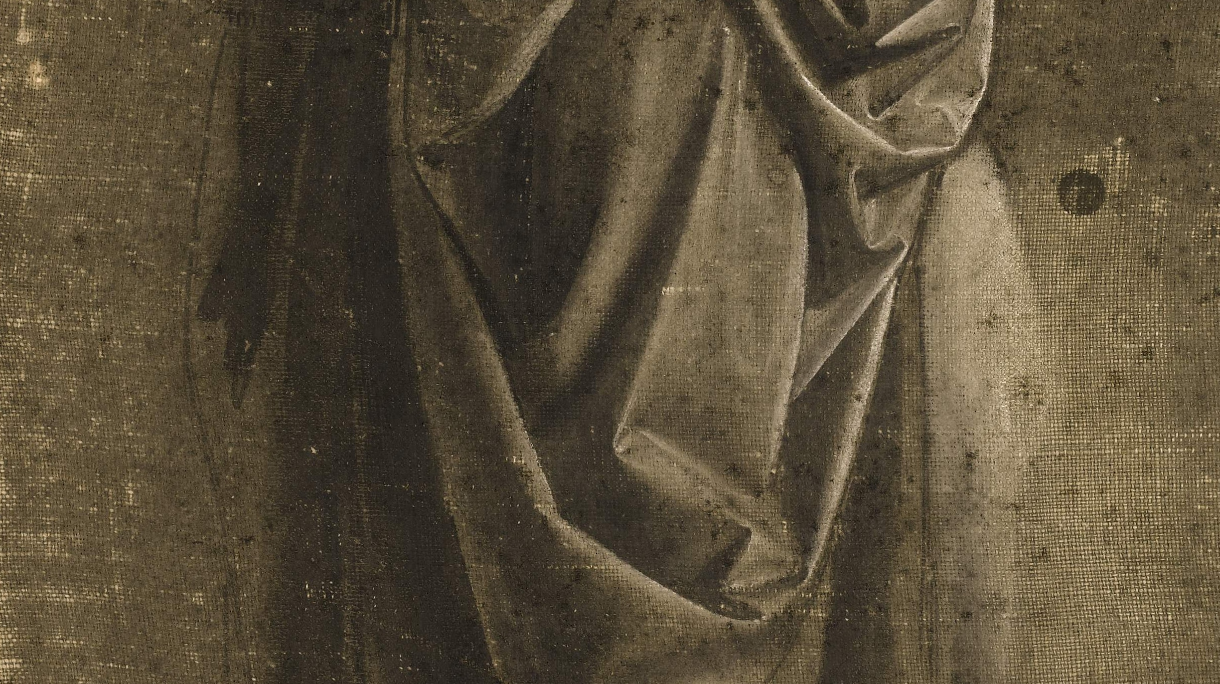 Andrea del Verrocchio's Drapery Study of a Standing Figure Facing Right, in Profile